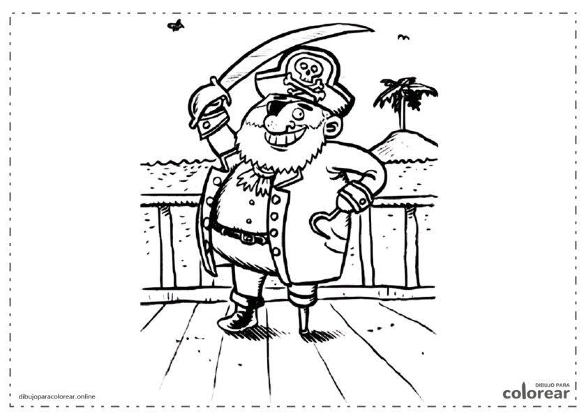 Capitán Pirata en el puerto de la isla del tesoro
