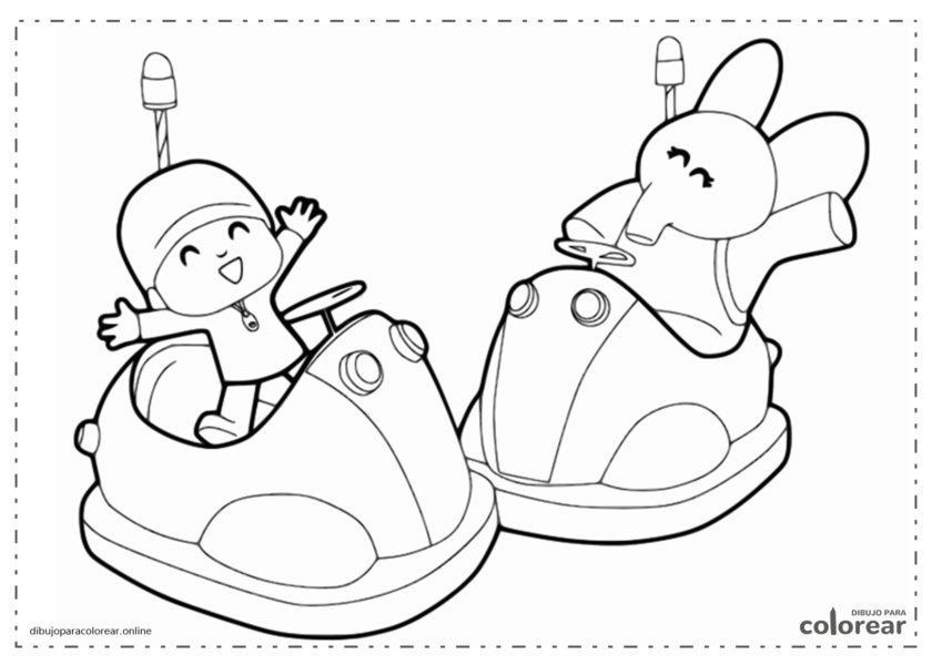 Pocoyó y Elly jugando a los autos de choque