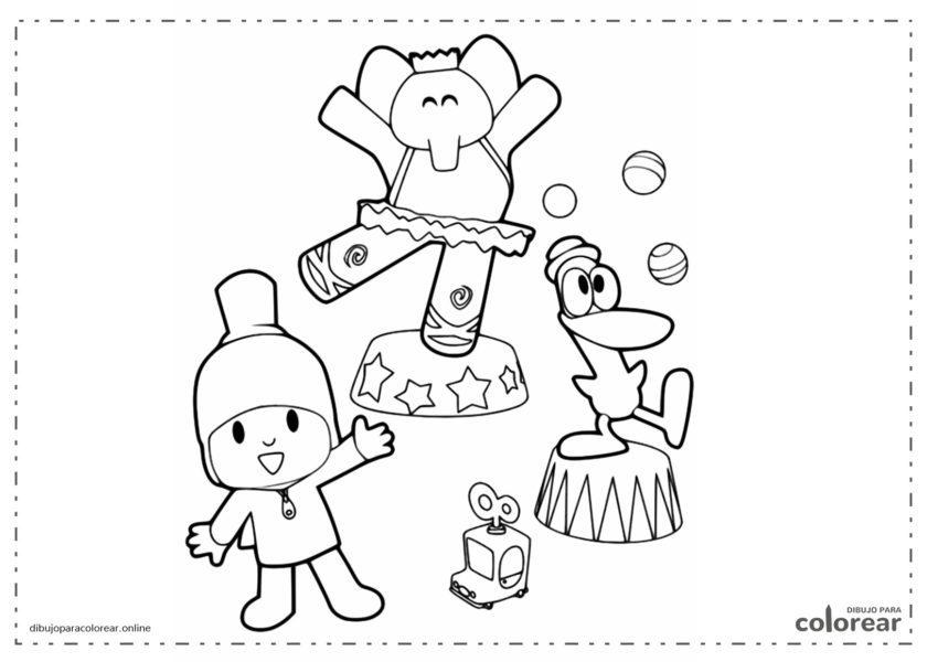 Pocoyó, Elly y Pato haciendo gimnasia