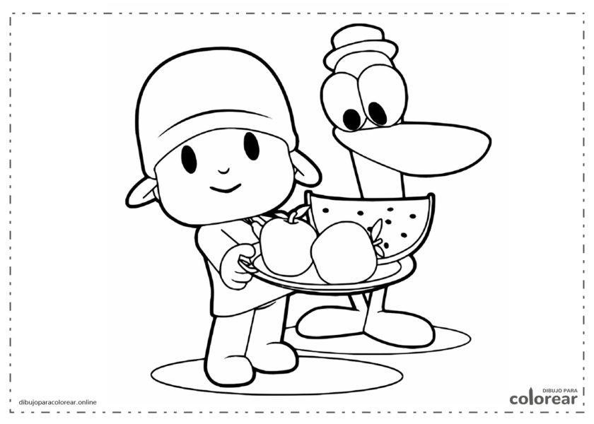 Pocoyó y Pato comiendo fruta