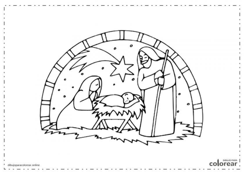 El portal de Belén con la estrella de Navidad