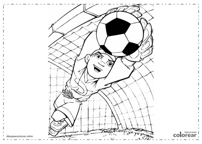 Portero de fútbol haciendo una parada para salvar la portería