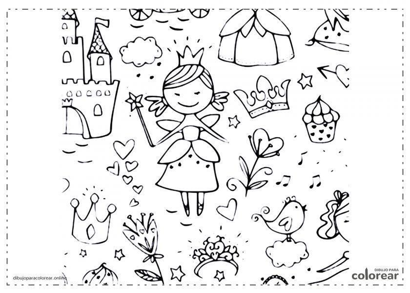 Princesa cerca del castillo rodeada de flores