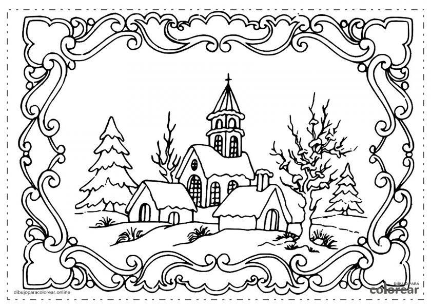 Pueblo nevado en invierno con Iglesia