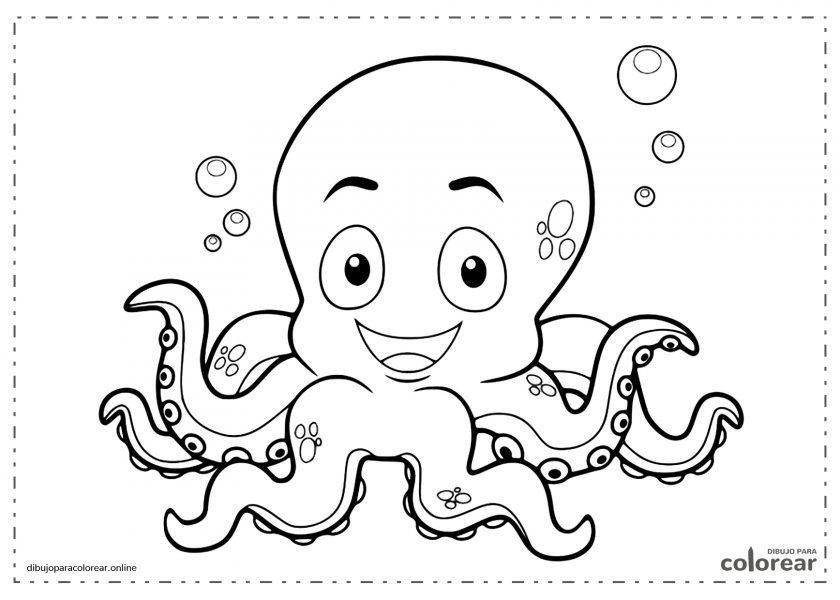 Pulpo bebé nadando en el fondo del mar