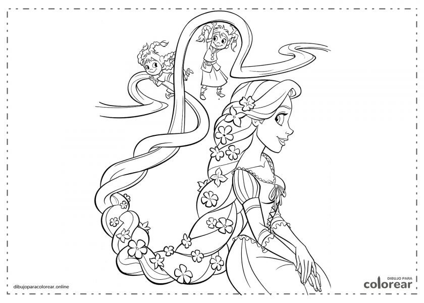 Rapunzel con su larga trenza