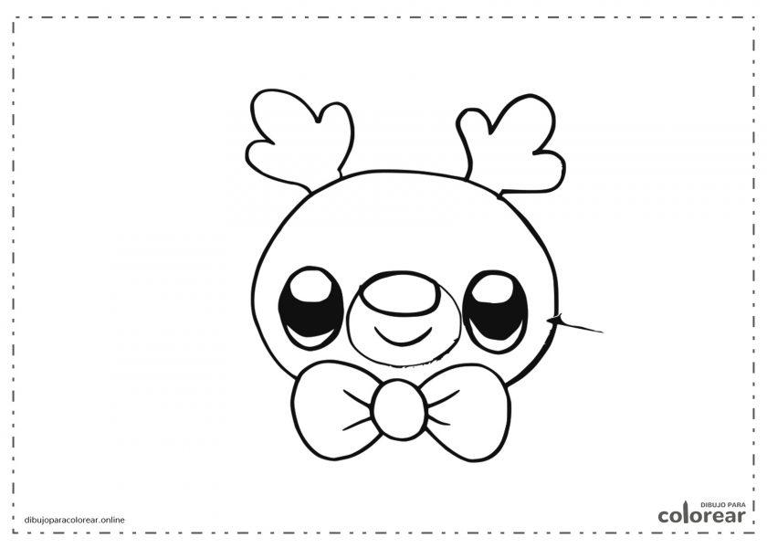 Cabeza de reno sonriente Kawaii