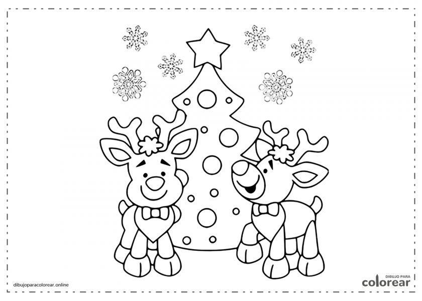 Renos cantando bajo el árbol de Navidad