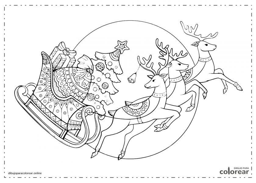 Renos llevando en el trineo los regalos de Navidad de Papá Noel