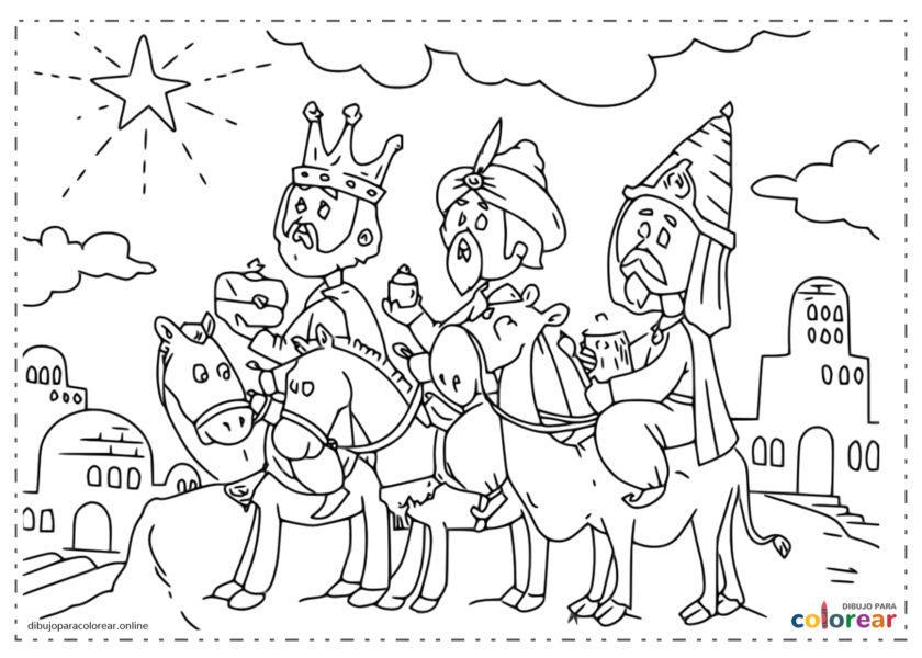 Reyes Magos llegando a Belén siguiendo la estrella