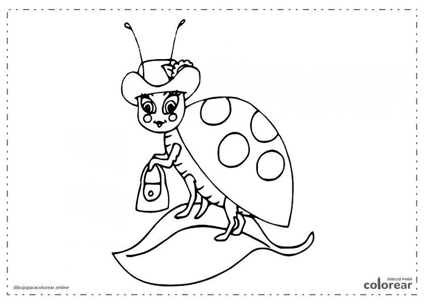 Señora mariquita con sombrero y bolso