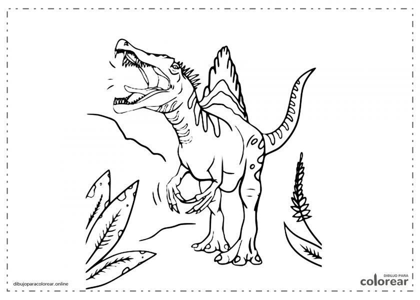 Spinosaurus rugiendo con la boca abierta