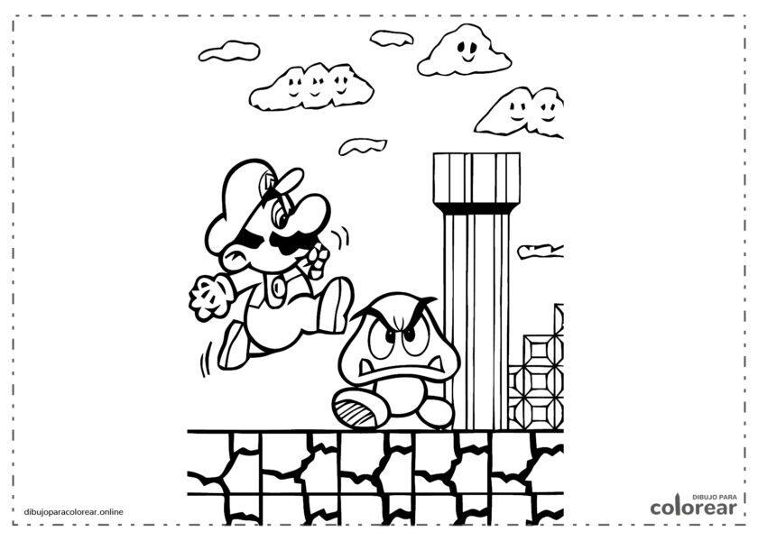 Super Mario saltando sobre un enemigo