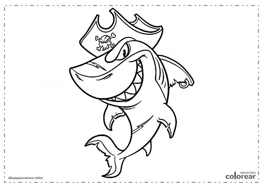 Tiburón pirata de dibujos animados