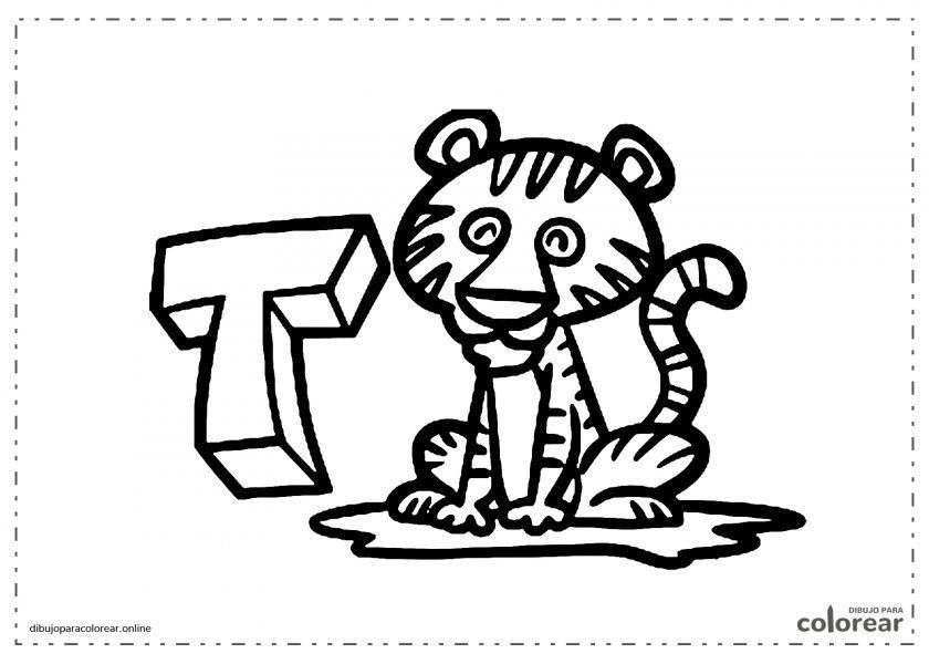 Tigre con la letra T