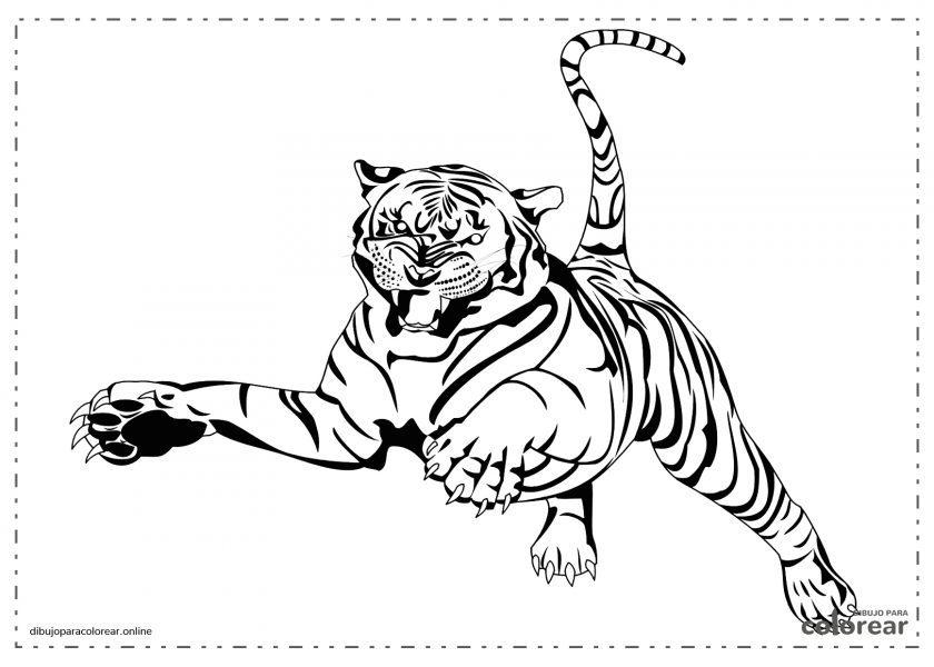 Tigre saltando en ataque