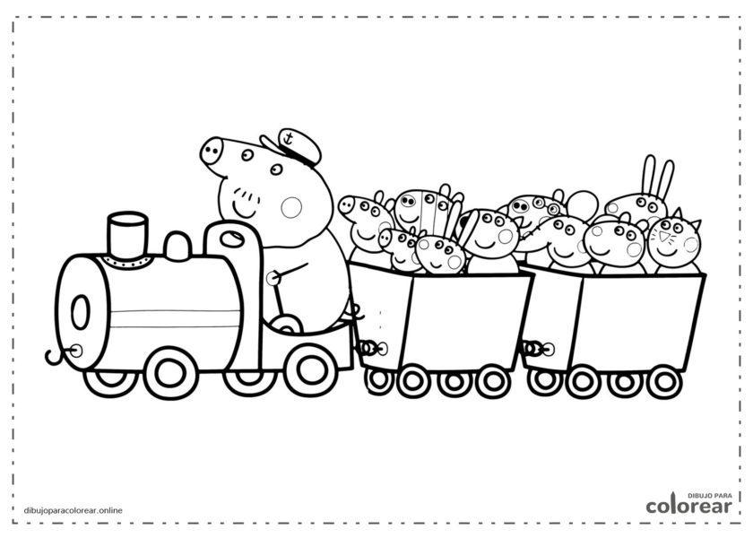 Peppa Pig viajando en tren