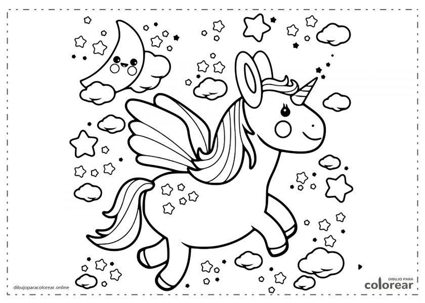 Unicornio feliz volando en la noche