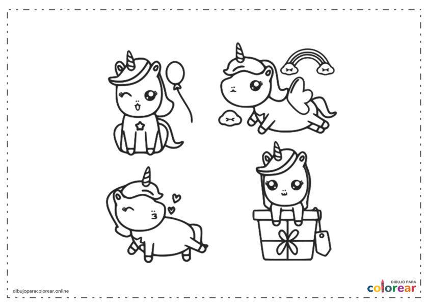 Unicornios en una fiesta con regalos