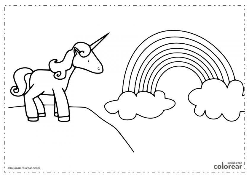 Unicornio mirando el arco iris