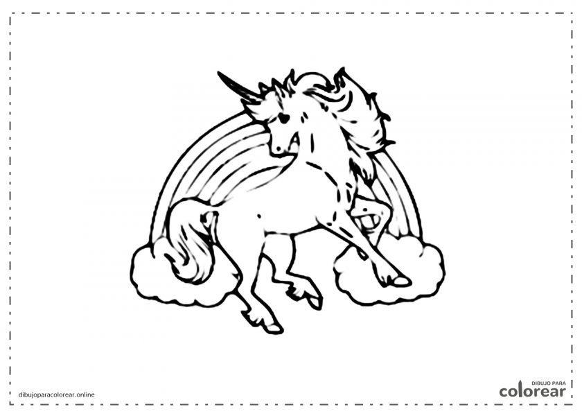 Unicornio salvaje delante del arco iris