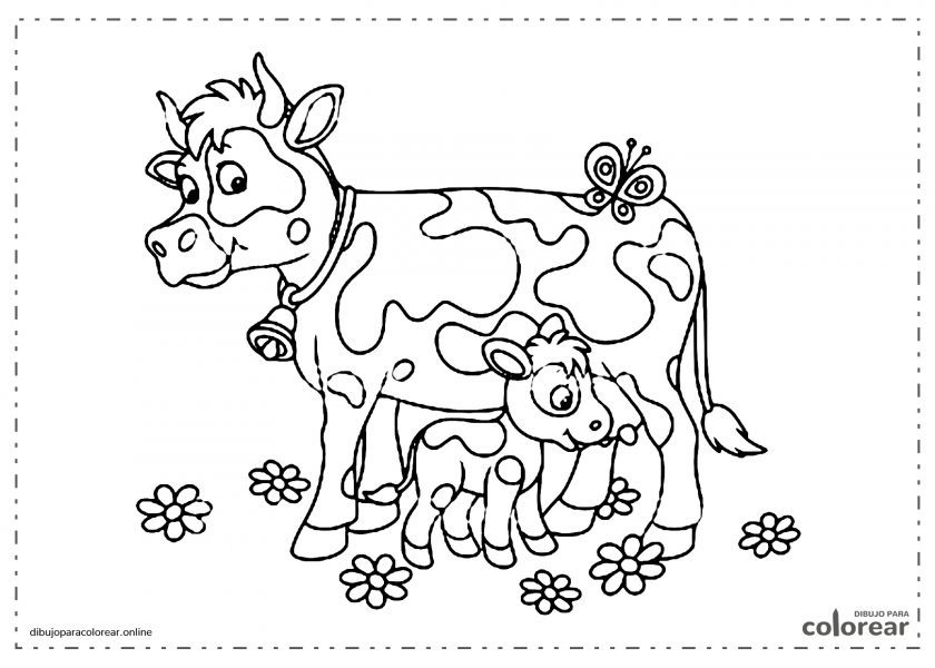 Vaca con su cría, el ternero