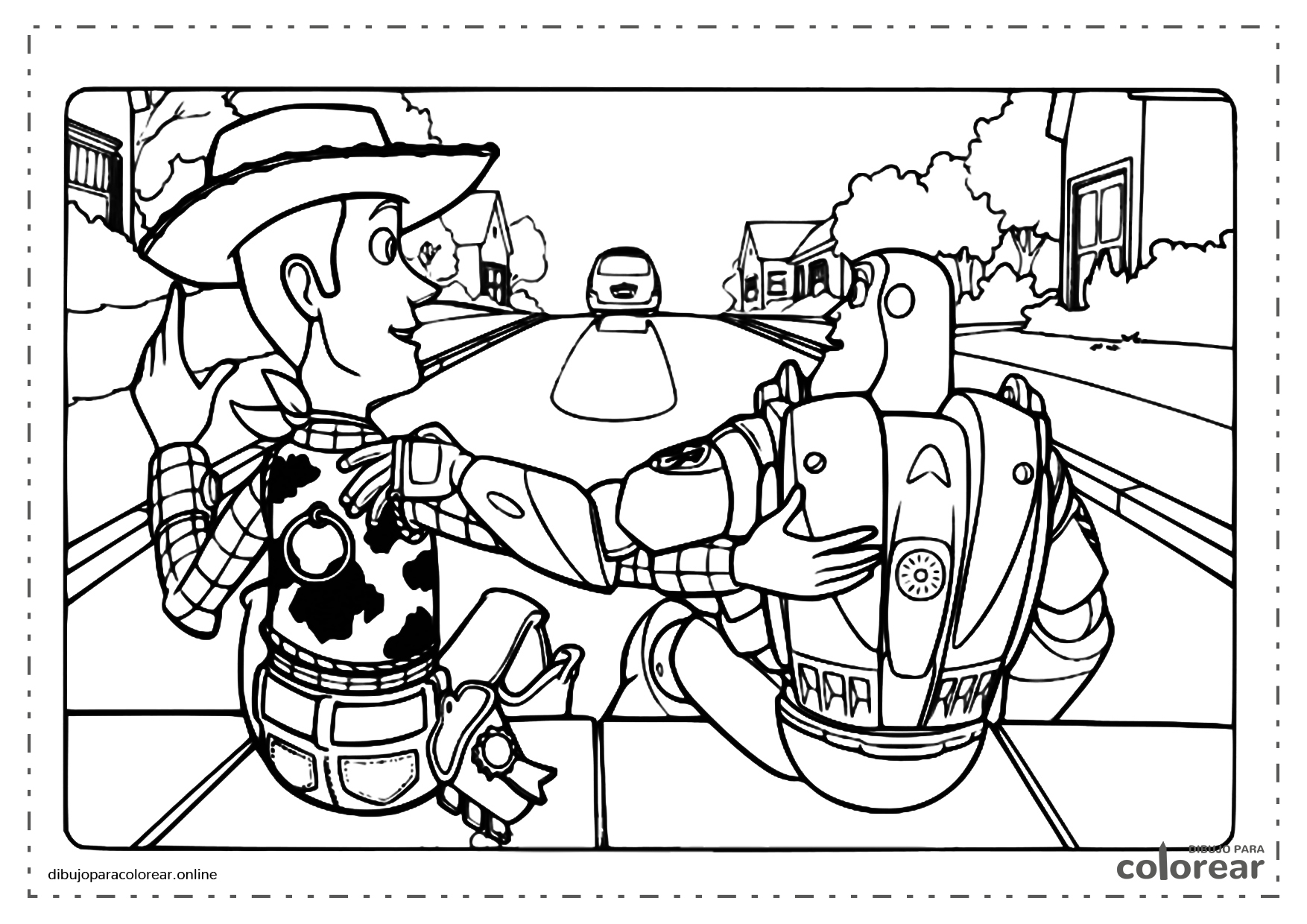 Woody y Buzz Lightyear mirando desde la ventana